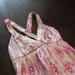 Loft Silk Pink and Gold Floral Maxi Dress